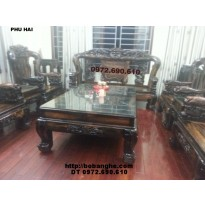 Bàn ghế gỗ Mun kiểu Công Phượng Vai 16 PC15