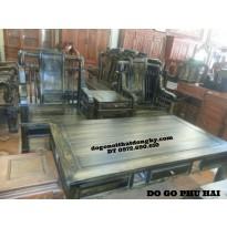Bộ bàn ghế đồng kỵ Kiểu Khổng Minh gỗ mun KM01