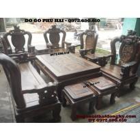 Bộ bàn ghế đồng kỵ kiểu đỉnh rồng gỗ mun BDR2