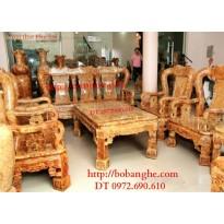 Bộ bàn ghế gỗ ngọc nghiến Kiểu Quốc triện V12 QTN3