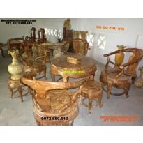 Bộ bàn ghế gỗ nu nghiến Bàn tròn BT2