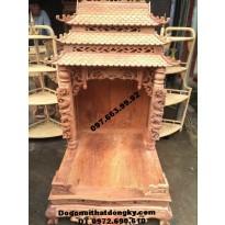 Bàn thờ ông địa ba mái gỗ hương BTT.15