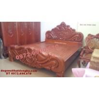 Giường cưới đẹp kiểu hoa hồng gỗ gụ, Giường ngủ GN.39