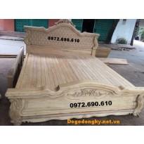 Giường ngủ gỗ gụ giá rẻ, Giường ngủ đục trám GN60