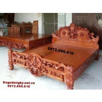 Mẫu giường gỗ đẹp, giường ngủ gỗ hương GN.66