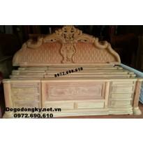 Giường Ngủ gỗ hương đẹp, Giường gỗ đục trám GN.72