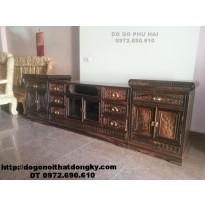 Tủ Kệ Tivi đẹp gỗ mun dồ gỗ đồng kỵ KTV44