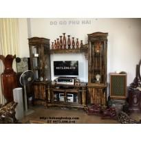 Tủ kệ bày đồ, Kệ để Tivi gỗ mun KTV46