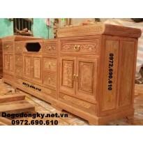 Kệ ti vi gỗ hương, Kệ để tivi đồ gỗ đồng kỵ KTV63