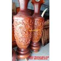 Đại Lộc Bình Cham Cửu rồng ,Đồ gỗ Phú Hải LB34