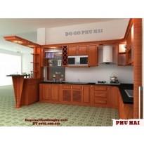 Tủ bếp gỗ Dáng Hương, Tủ bếp đẹp có quầy Bar TB1