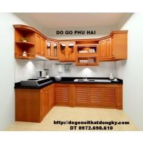 Tủ bếp chữ L - Thiết kế, thi công tủ bếp đẹp gỗ camxe TB9