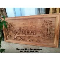 Tranh gỗ đục nổi, Tranh chạm khắc gỗ tích Vinh qui bái tổ TR12