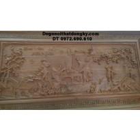 Tranh điêu khắc gỗ tuyệt đẹp Đào viên kết nghĩa T15