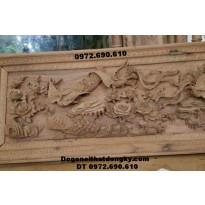 Tranh chạm khắc gỗ đẹp và độc đáo mẫu Tứ linh T18